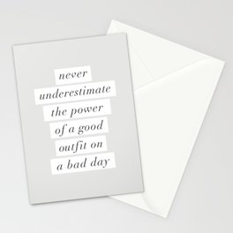 Never Underestimate The Power Of A Good Outfit On A Bad Day motivational typography decor Stationery Cards