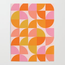Mid Century Mod Geometry in Pink and Orange Poster