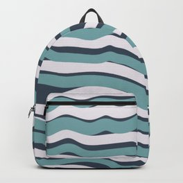 Mid Century Modern Happy Waves Blue Beige Teal Backpack