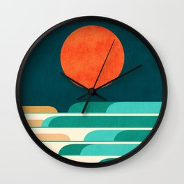 Chasing wave under the red moon Wall Clock