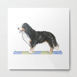 Bernese Mountain Dog Ski Fun Metal Print