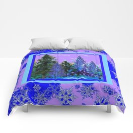BLUE-LILAC WINTER SNOWFLAKE CRYSTALS FOREST ART DESIGN Comforters