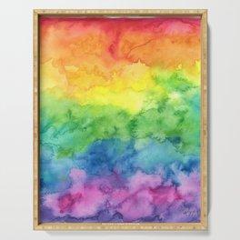 Watercolor Rainbow Stripe Serving Tray