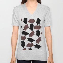Burgundy black white marble abstract brushstrokes Unisex V-Neck