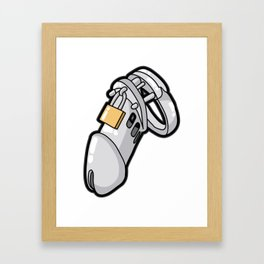 MALE CHASTITY DEVICE CUCKOLD SLAVE SUB Penis Cage Framed Art Print