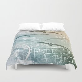 Free Like A Bird Seagull Mixed Media Art Duvet Cover