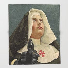 NUN WITH A GUN Throw Blanket