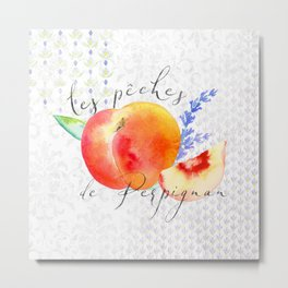 Les Pêches de Perpignan—French Country Peaches from Provence Metal Print