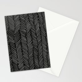 Herringbone Cream on Black Stationery Cards