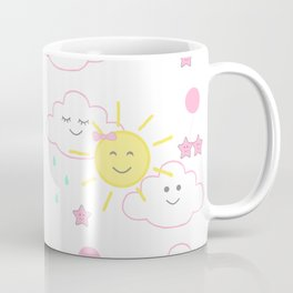 Pink Sun Rain Clouds Stars Coffee Mug
