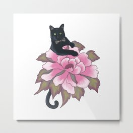 Black Cat on Flower Metal Print