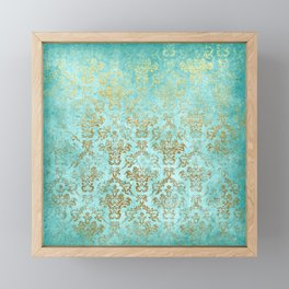 Mermaid Gold Aqua Seafoam Damask Framed Mini Art Print