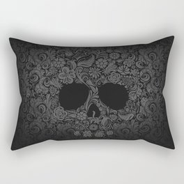 Floral  Skull Rectangular Pillow