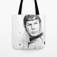 Spock Portrait Watercolor Sci-fi Geek Art Tote Bag