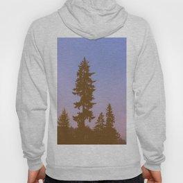 Pine Tree Silhouette Against Purple Pink Sky Hoody