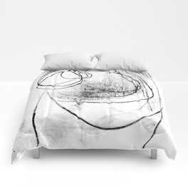 Black and White Textured Scribble Abstract Painting Comforters