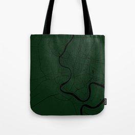 Bangkok Thailand Minimal Street Map - Forest Green and Black Tote Bag