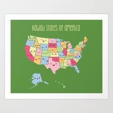 Kawaii States of America Art Print