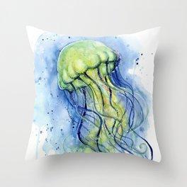 Jellyfish Watercolor Beautiful Sea Creatures Throw Pillow