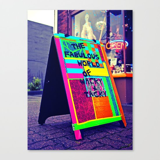 Colorful sidewalk sign Canvas Print