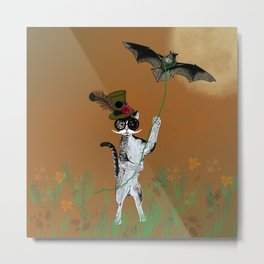 Cat Walking His Bat Metal Print