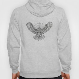 Mason Owl with skull, rule, compass and the eye that sees everything (tattoo style) Hoody