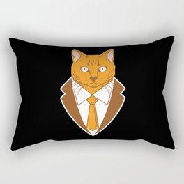 Business Trader Cat With Tie Kitten Feline Pet Owner Gift Rectangular Pillow