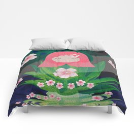Green Lotus Girl Modern Floral Print Comforters