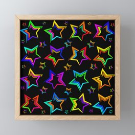 Neon bright stars. The pattern and the background of the stars on a black background Framed Mini Art Print
