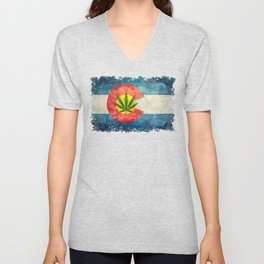 Colorado flag with leaf - Marijuana leaf that is! Unisex V-Neck