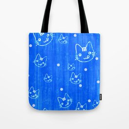 Blue Cat Pattern Tote Bag