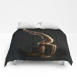 5137s-NLJ Beautiful Woman Nude Headstand Warm Dark Skin Centered Yoga Comforters