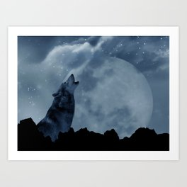 Wolf howling at full moon Art Print