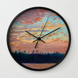 Tom Thomson - Sunset Sky - Canada, Canadian Oil Painting - Group of Seven Wall Clock