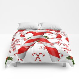 FESTIVE ART RED-WHITE CHRISTMAS CANDY CANES HOLLY BERRIES Comforters