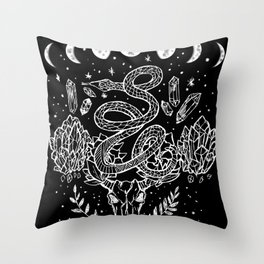 Gothic Snakes And Crystals Moon Phases Throw Pillow