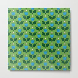 Minimal Floral Pattern Metal Print