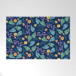 Watercolour dark blue seamless pattern background with whimsical flowers. Welcome Mat