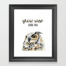 Grow Wise Little Owl Nursery Animals Art Great Horned Owl Framed Art Print