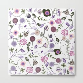Colorful Abstract Flowers Pattern Metal Print