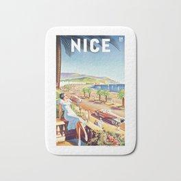 1935 Nice France Travel Poster Bath Mat