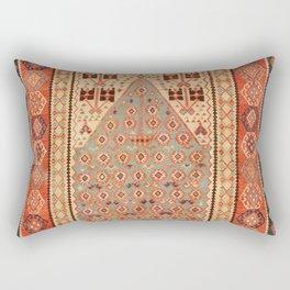 Antique Erzurum Turkish Kilim Rug Print Rectangular Pillow