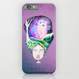 Whimsical Moonscape Girl - Purple Palette Moonscape Watercolor iPhone Case