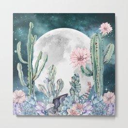Desert Nights Gemstone Oasis Moon Metal Print