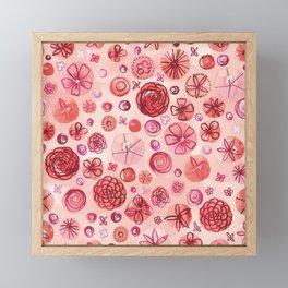Flowers in Circles | Coral Framed Mini Art Print