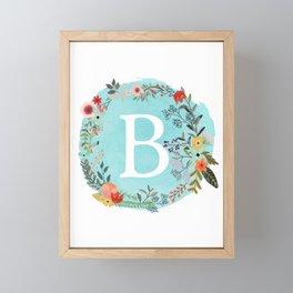 Personalized Monogram Initial Letter B Blue Watercolor Flower Wreath Artwork Framed Mini Art Print