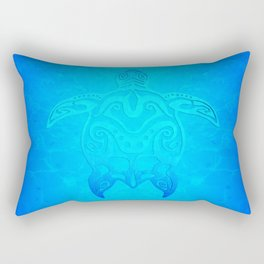 Ocean Blue Tribal Turtle Rectangular Pillow
