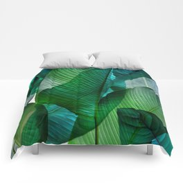 Palm leaf jungle Bali banana palm frond greens Comforters