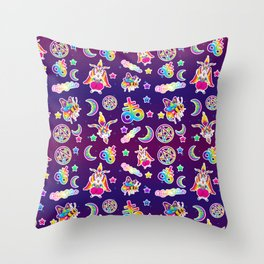 1997 Neon Rainbow Occult Sticker Collection Throw Pillow