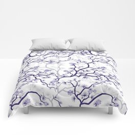 Abstract navy blue gray lavender floral illustration Comforters